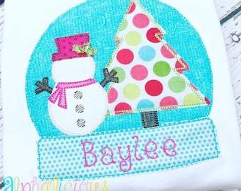Vintage Bean Stitch Snowglobe - Vintage Christmas Shirt - Custom Tee Shirt - Embroidered tee