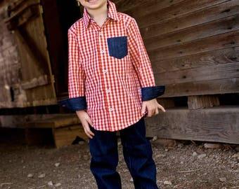 Red Gingham Button-Up Boys Valentine Shirt or Bodysuit - Denim Accents - Baby Boy Valentines Bodysuit - Valentines