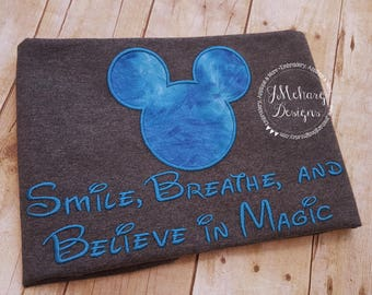 Believe in Magic Mouse Custom embroidered Disney Inspired Vacation Shirts for the Family! 846 blue