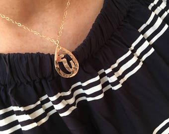 Armenian Cutout Monogram Necklace, Armenian Monogram Necklace, Armenian Initial Necklace, Armenian Jewelry