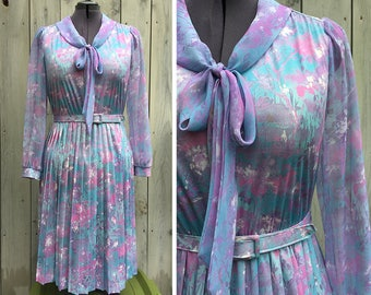 Vintage dress | 70s pastel floral sheer sleeve pussy bow chiffon dress - sold as is