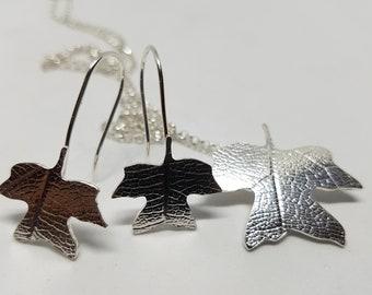 Poplar Necklace Poplar Earrings Leaf Set Jewellery Nature Jewellery
