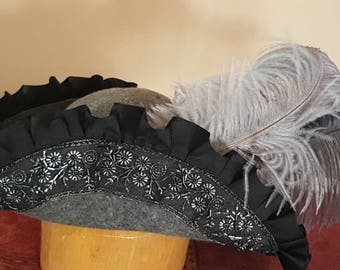 Gray Wool Bicorn with Black Pleated Ribbon and Black Embroidered and Beaded Lace Trim.