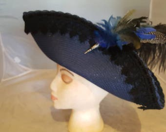 Blue Straw Tricorn with Black Lace Trim and Feathers