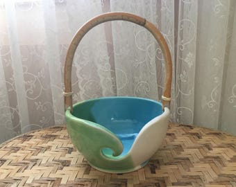 Handled Porcelain Yarn Bowl in White, Blue, and Green