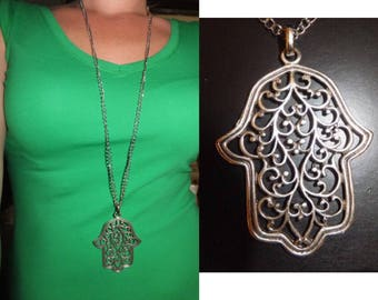 Silver Hamsa Hand Necklace, Antique Silver Necklace, Boho jewelry,  Long Necklace, Hand of Fatima Necklace, Protection Pendant, Christmas