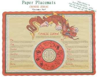 50 PAPER Chinese Zodiac Placemat, Dragon print, Zodiac text, guest table, Vintage Look, Disposable, Picnic, Party, Cookout, , Buffet