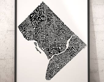 Washington DC typography map, Washington DC art print, map of Washington DC, washington dc neighborhood map, washington dc map art downtown