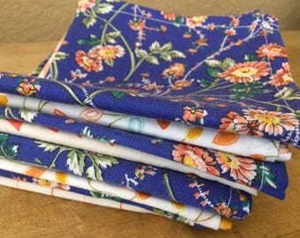 Cloth Napkins, Blue and Orange, 10 inch, Set of 8, by CHOW with ME