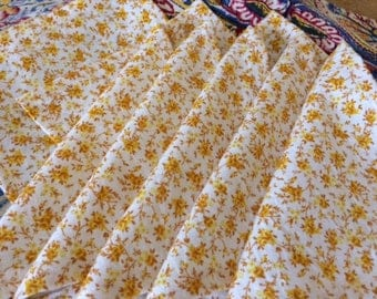 Fall Cloth Napkins, Yellow and Cream Tiny Florals, 5 inch, Set of 8, by CHOW with ME