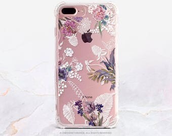 iPhone 7 Case Summer Floral Clear GRIP Rubber Case iPhone 7 Plus Clear Case iPhone 6 Case iPhone 6S Case iPhone SE Case Samsung S7 Edge U245