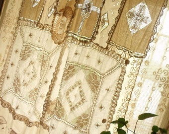 PAIR2 Bohemian ANTIQUE Lace Curtains Shabby Boho Chic Drapes Hippie Gypsy Panels Patchwork
