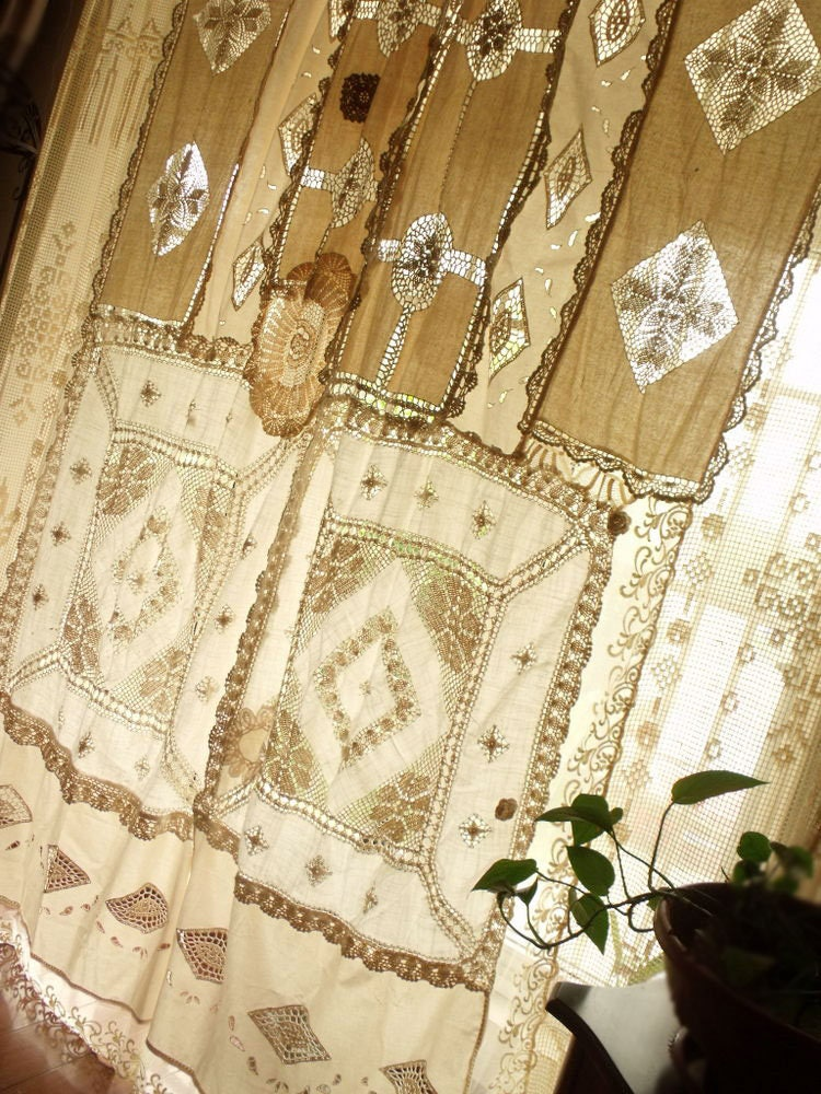 Pair2 Bohemian Antique Lace Curtains Shabby Boho Chic Drapes