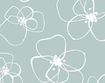 Flower Fabric/Mormor Lotta Jansdotter/White and Mint/Cotton Sewing Material/Quilting, Clothing/Fat Quarter, Half, By The Yard, Yardage