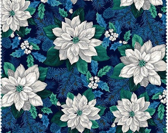 Christmas Fabric/White Poinsettias on Black/Teal, Blue/Cotton Material/Quilting, Clothing, Crafts/Fat Quarter, Half, By the Yard, Yardage