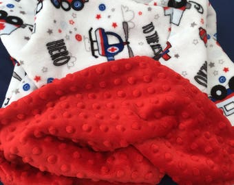 Fire Truck Blanket, Minky Baby Blanket, Police Blanket, Fireman, Ambulance, Helicopter, Cars, First Responder, Crib Size 38 x 45 in