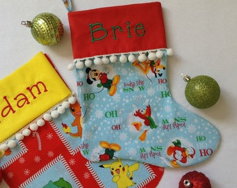 Christmas Stocking Personalized Mickey Minnie Theme Cotton Fabric Embroidery on Cuff White Pompon Trim