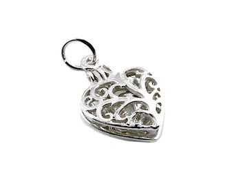 Sterling Silver Opening Ring In Filigree Heart Charm For Bracelets