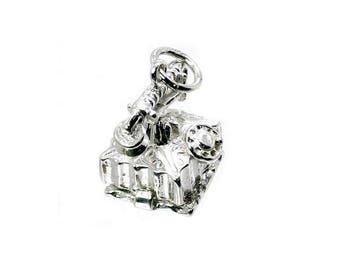 Sterling Silver Opening Antique Telephone Charm For Bracelets