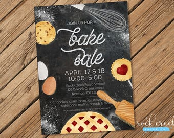 Bake Sale Flyer, Bake Sale Invitation, School Fundraiser Flyer, Charity Bake  Sale,