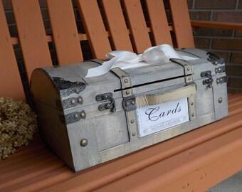 Wood Wedding Card Box Trunk, Vintage Shabby Chic Wedding Decor, Rustic Money Holder Card Box, Card Slot, Wedding Cards, Shower Cards