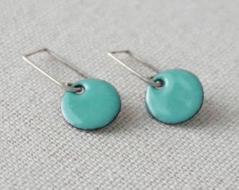 Mint Green Enamel Earrings - Enamel Jewelry