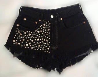 Levis black studded shorts