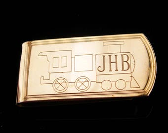 Railroad money clip / Vintage Initials JHB / Grandfather gift / Fathers Day / letter personalized novelty gift