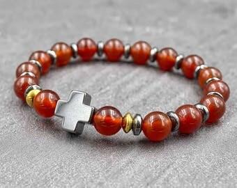 Hematite cross bracelet Mens wrist jewelry Mens carnelian bracelet mala Carnelian mala beads Mens hematite bracelet Mens wrist mala bracelet