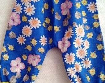 harem pants in cotton with blue and yellow flowers 6/12 months