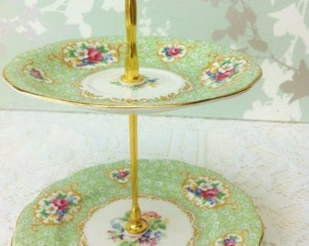 Green 2 Tier Mini Cake Stand with Rococo decoration,