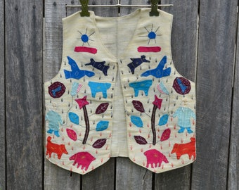Vest early teens woven silk / cotton with appliqué pictures handmade unique crafty arty unisex waist coat