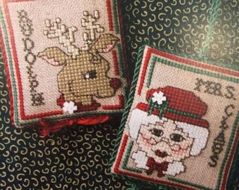25% OFF SALE Sweetheart Tree Rudolph & Mrs Claus Ornaments Cross Stitch Pattern w/buttons