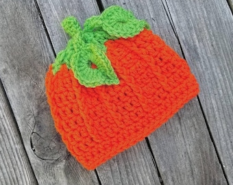 Crochet Orange Pumpkin Beanie with Leaves
