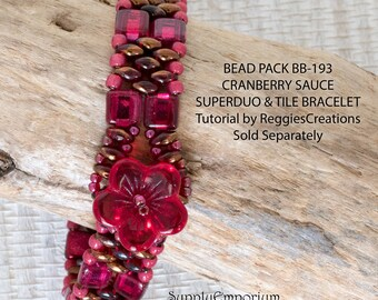 BB193 Cranberry Sauce Bead Pack, CzechMates Tile and Superduo Cuff Tutorial by ReggiesCreations Sold Separately, BB-193 Cranberry Sauce