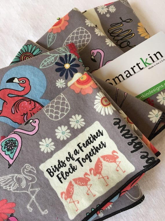 Gray Flamingo Fun Sayings All Cotton Cloth Lunch Napkin 12x15 in Size by Smartkin
