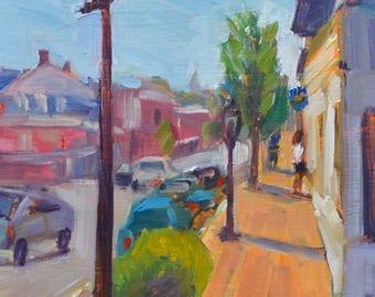 Cityscape painting, Downtown street, Main street, cars buildings architecture, Oil painting Original fine art  9 X 12 Garima Parakh