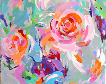 """Large abstract floral painting 