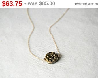 CIJ SALE** goldmine... gold druzy necklace / golden druzy round quartz & 14k gold filled necklace / drusy