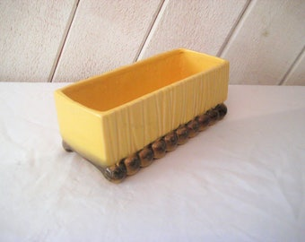 Yellow indoor planter, collectible McCoy planter, cactus succulant planter, oblong, rectangle, decorative, mid century, 50s 60s