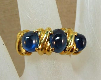 18K Italy Sapphire and Yellow Gold Ring Size 7