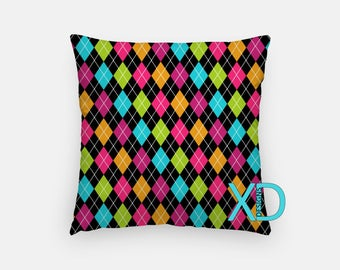 Argyle Pillow, Rainbow Pillow Cover, Diamond Pillow Case, Colorful Pillow, Artistic Design, Home Decor, Decorative Pillow Case, Sham