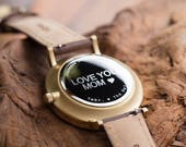 Personalized Watch, Valentines's Gift For Her, Walnut Wood Gold Watch, Brown Leather Strap Watch - CSTM-HELM-WG