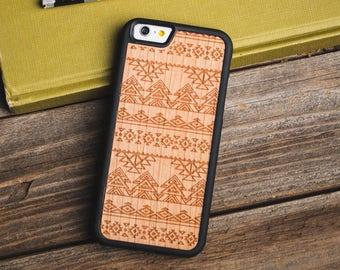 Wood iPhone 7 Case, Tribal Wood iPhone 7 Case, iPhone 7 Wooden Case