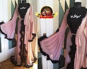 Pink and Black Boudoir Dressing Gown, Marabou Feather Robe Lingerie, Bride Dressing Gown, Burlesque Dressing Gown, Sheer Feather Kimono