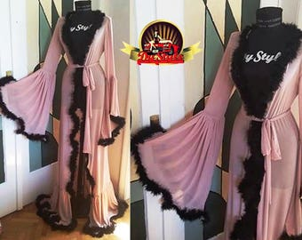 Pink and Black Boudoir Dressing Gown Marabou Feather Robe Bride Dressing Gown Burlesque Starlet Dressing Gown Sheer Feather Kimono