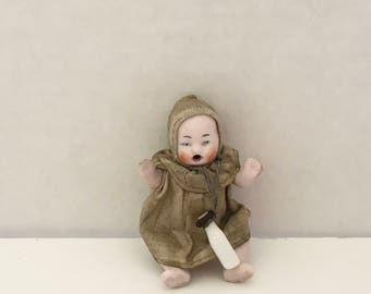 Antique German Bisque Dollhouse Baby doll ca. 1900-1910