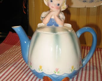Lefton ESD Duch.Fillette Japan.Tea pot Kitsch vintage teapot. 1960's