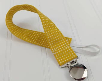 Pacifier Clip / Leash - Yellow Small Dots
