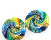 CIJ SALE Green, blue and gold big buttons, unique spiral buttons, 2 polymer clay swirl buttons, perfect addition to your craft project
